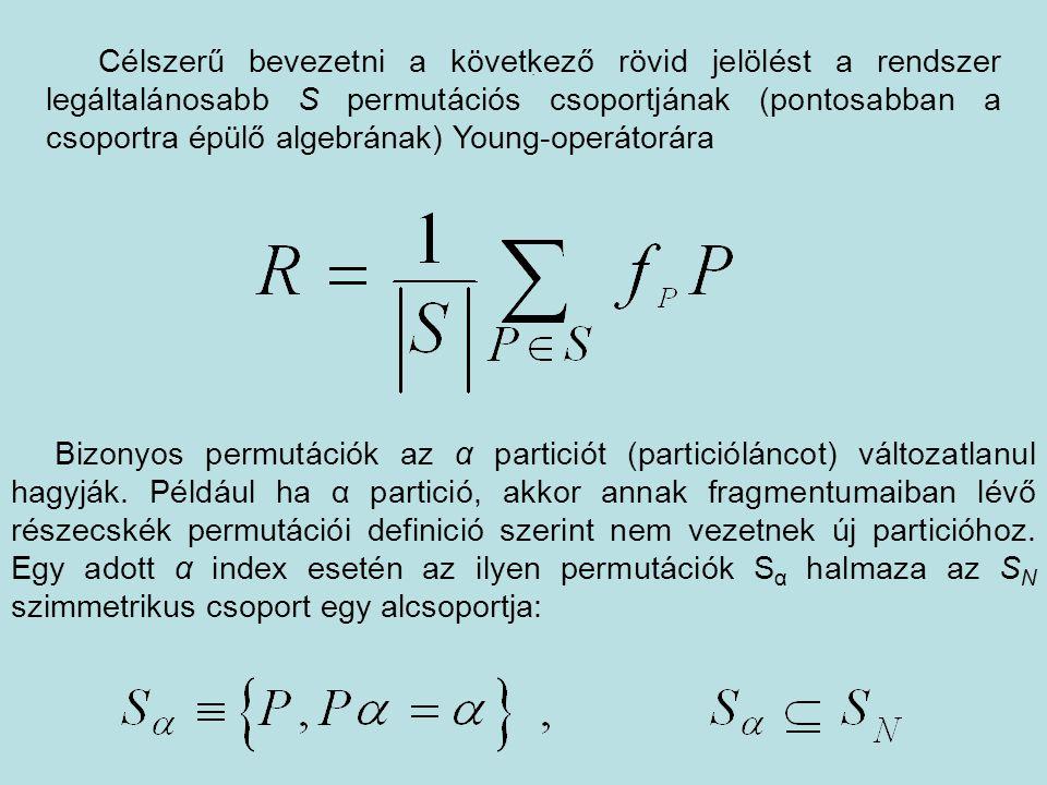 Célszerű bevezetni a következő rövid jelölést a rendszer legáltalánosabb S permutációs csoportjának (pontosabban a csoportra épülő algebrának) Young-operátorára