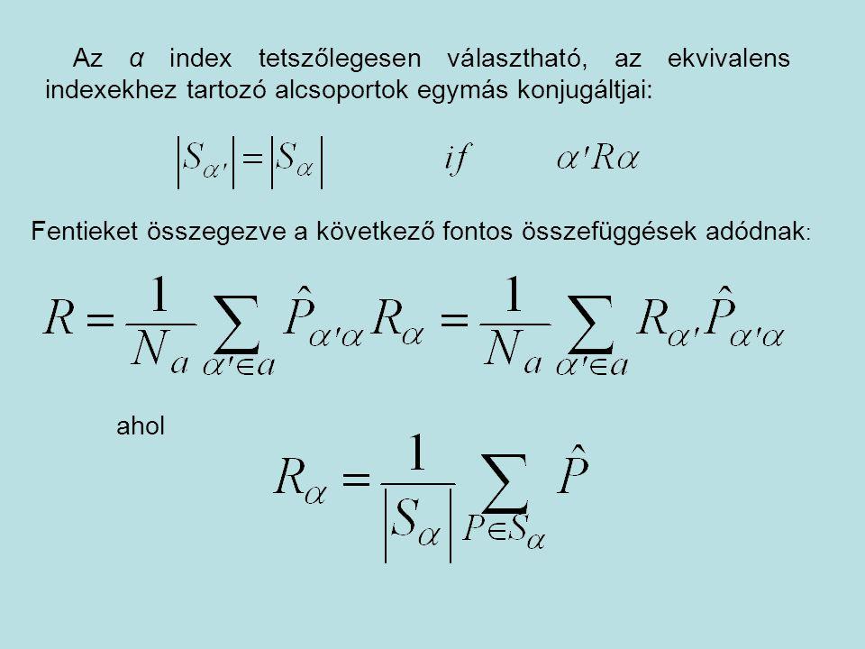 Az α index tetszőlegesen választható, az ekvivalens indexekhez tartozó alcsoportok egymás konjugáltjai:
