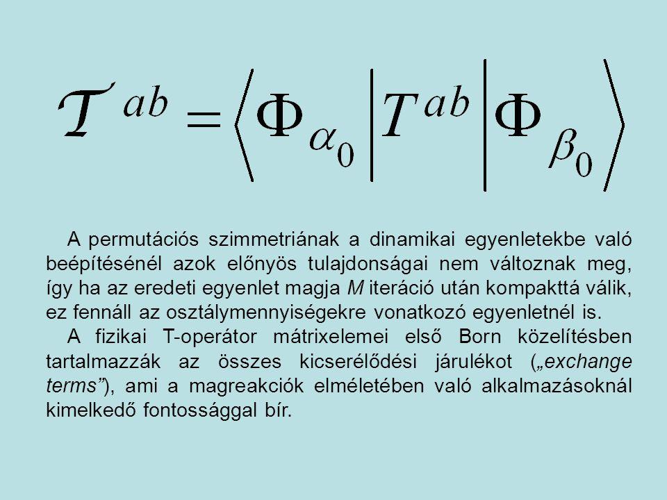 A permutációs szimmetriának a dinamikai egyenletekbe való beépítésénél azok előnyös tulajdonságai nem változnak meg, így ha az eredeti egyenlet magja M iteráció után kompakttá válik, ez fennáll az osztálymennyiségekre vonatkozó egyenletnél is.