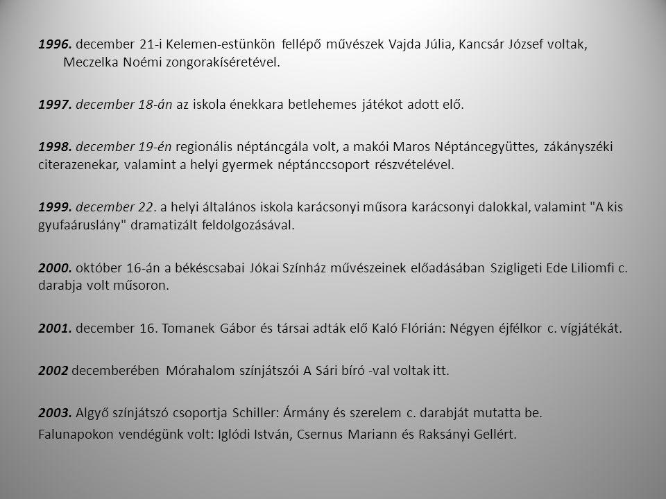 1996. december 21-i Kelemen-estünkön fellépő művészek Vajda Júlia, Kancsár József voltak, Meczelka Noémi zongorakíséretével.