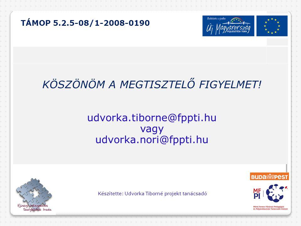 TÁMOP 5.2.5-08/1-2008-0190 KÖSZÖNÖM A MEGTISZTELŐ FIGYELMET!