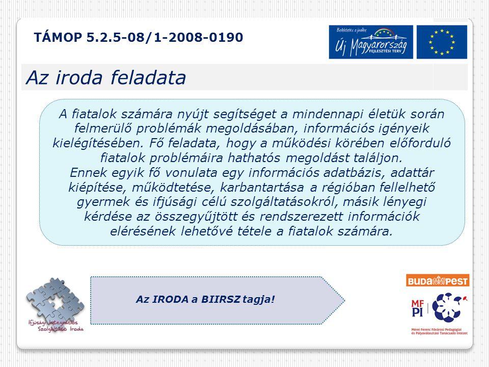 TÁMOP 5.2.5-08/1-2008-0190 Az iroda feladata