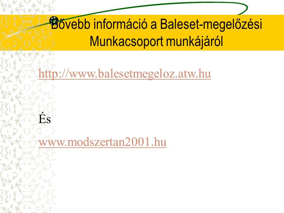 Bővebb információ a Baleset-megelőzési Munkacsoport munkájáról