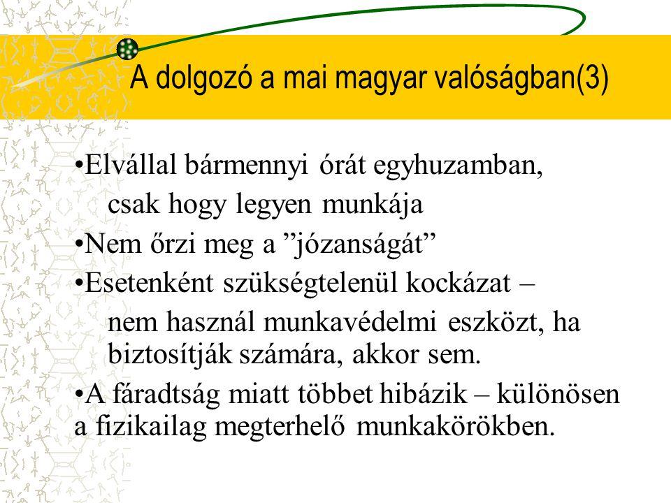 A dolgozó a mai magyar valóságban(3)