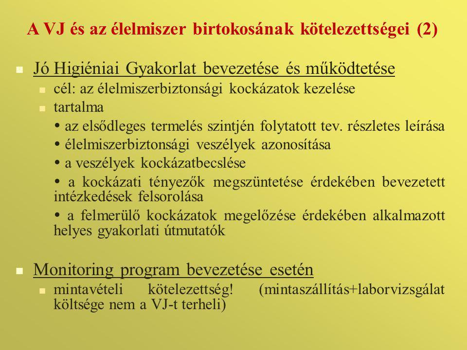 A VJ és az élelmiszer birtokosának kötelezettségei (2)