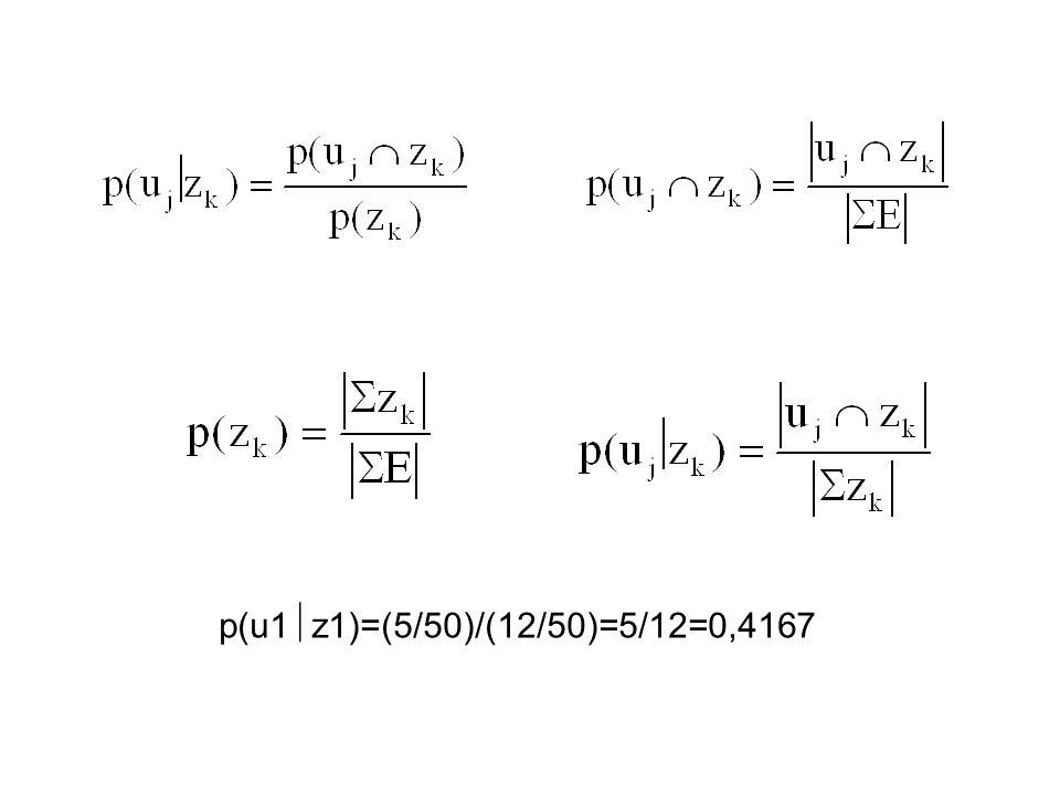 p(u1z1)=(5/50)/(12/50)=5/12=0,4167