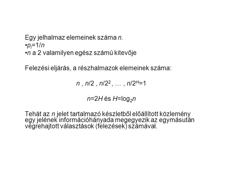 Egy jelhalmaz elemeinek száma n.