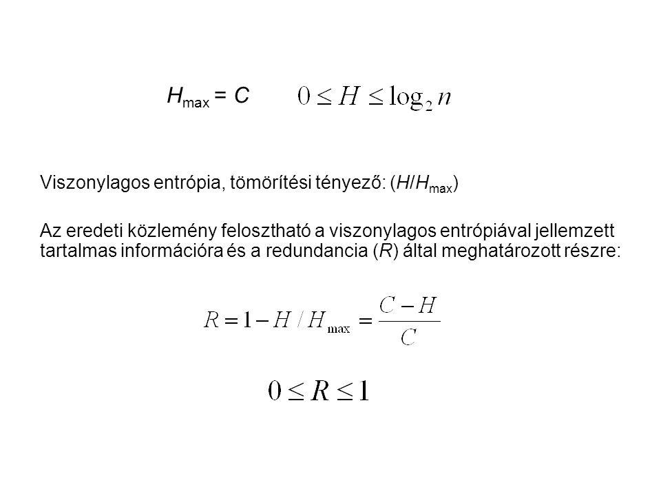 Hmax = C Viszonylagos entrópia, tömörítési tényező: (H/Hmax)