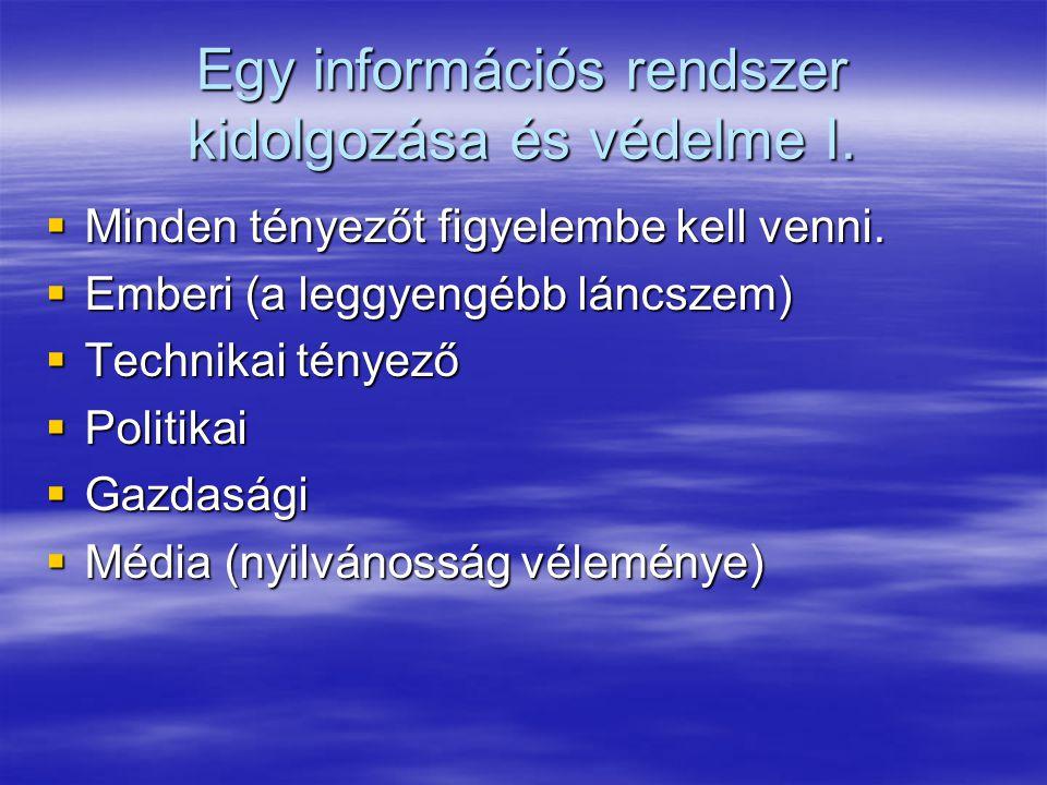 Egy információs rendszer kidolgozása és védelme I.