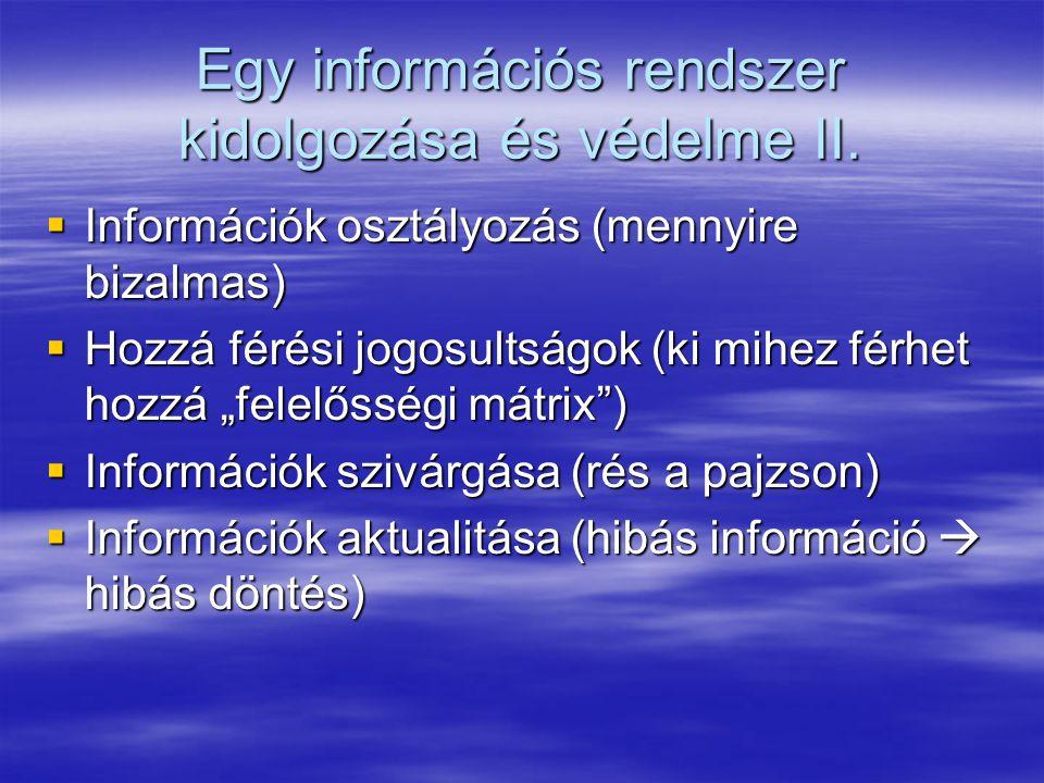 Egy információs rendszer kidolgozása és védelme II.