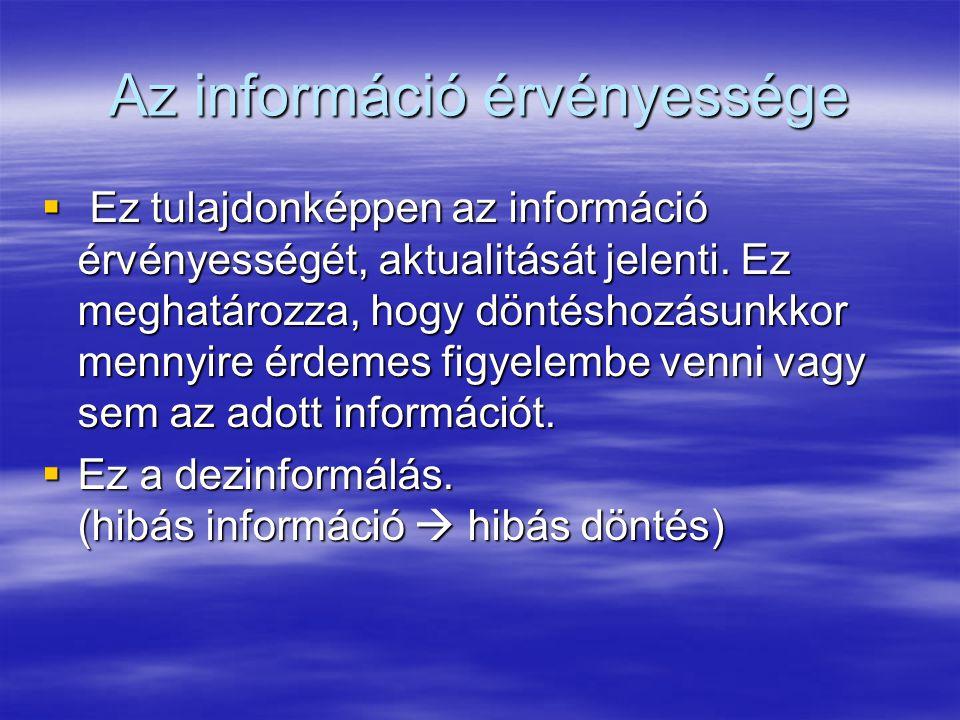 Az információ érvényessége