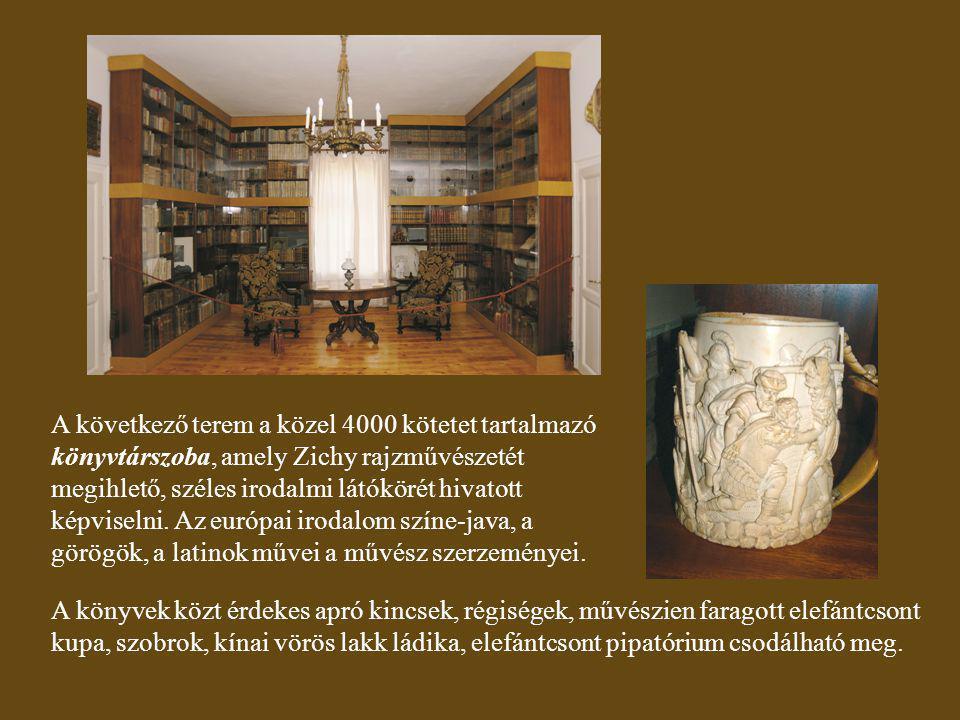 A következő terem a közel 4000 kötetet tartalmazó könyvtárszoba, amely Zichy rajzművészetét megihlető, széles irodalmi látókörét hivatott képviselni. Az európai irodalom színe-java, a görögök, a latinok művei a művész szerzeményei.