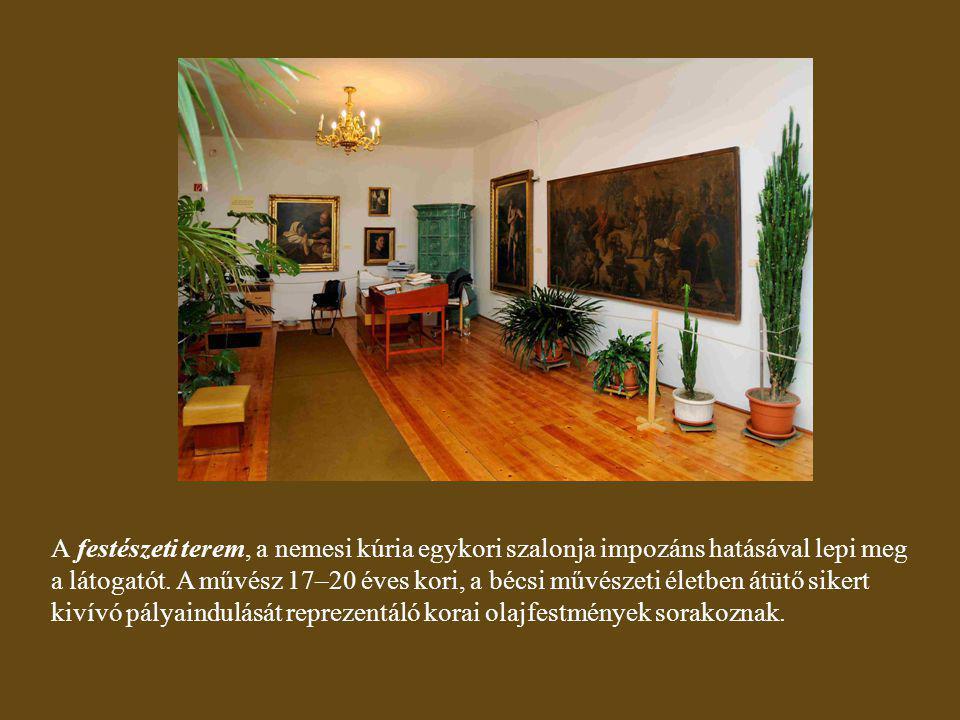 A festészeti terem, a nemesi kúria egykori szalonja impozáns hatásával lepi meg a látogatót.