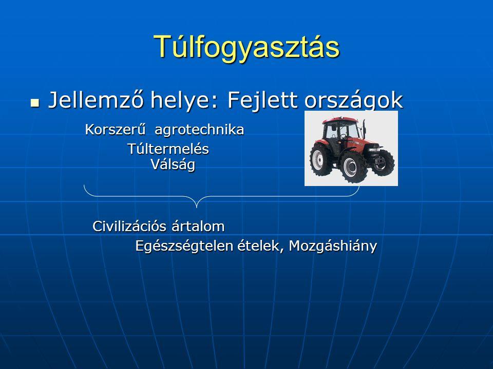 Túlfogyasztás Jellemző helye: Fejlett országok Korszerű agrotechnika