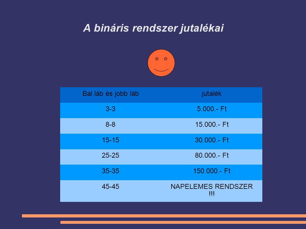 A bináris rendszer jutalékai