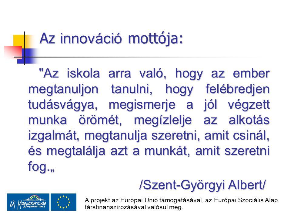 Az innováció mottója:
