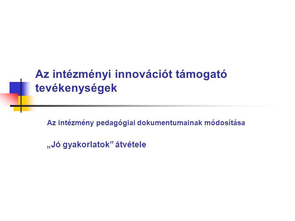 Az intézményi innovációt támogató tevékenységek