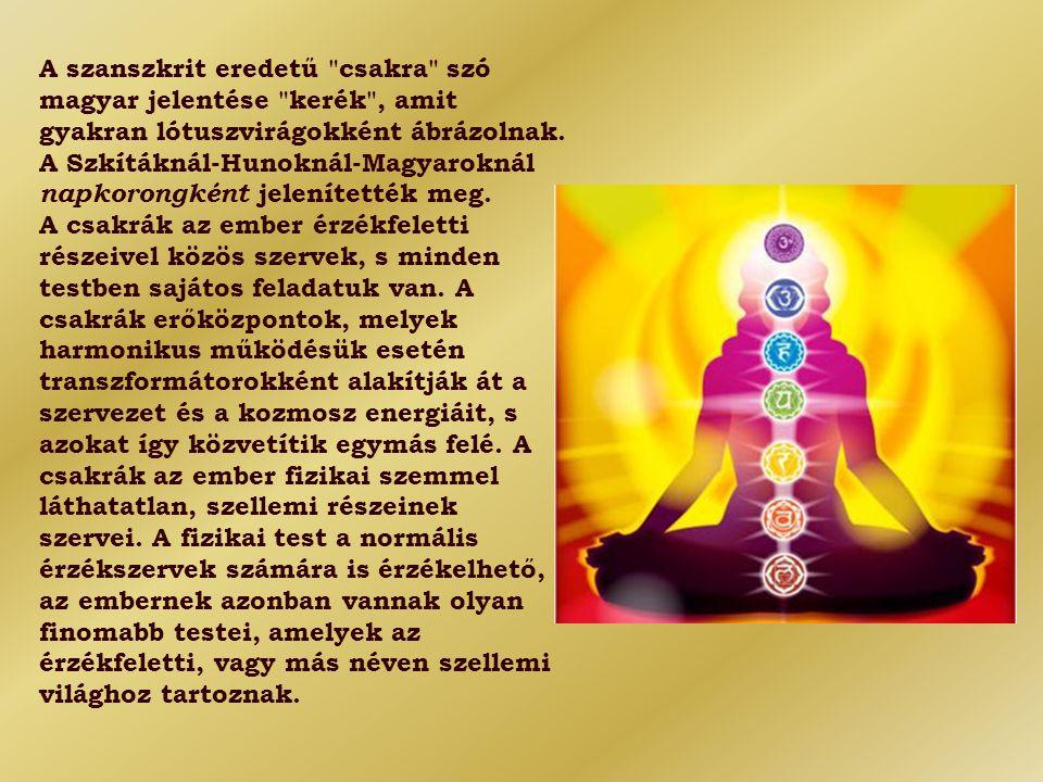 A szanszkrit eredetű csakra szó magyar jelentése kerék , amit gyakran lótuszvirágokként ábrázolnak. A Szkítáknál-Hunoknál-Magyaroknál napkorongként jelenítették meg.
