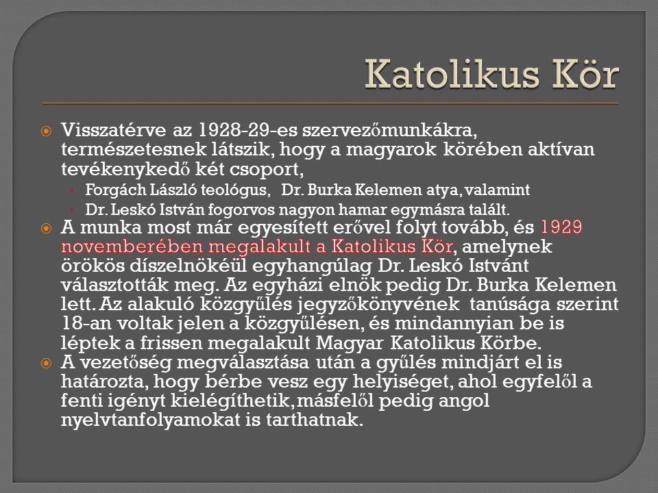 Katolikus Kör Visszatérve az 1928-29-es szervezőmunkákra, természetesnek látszik, hogy a magyarok körében aktívan tevékenykedő két csoport,