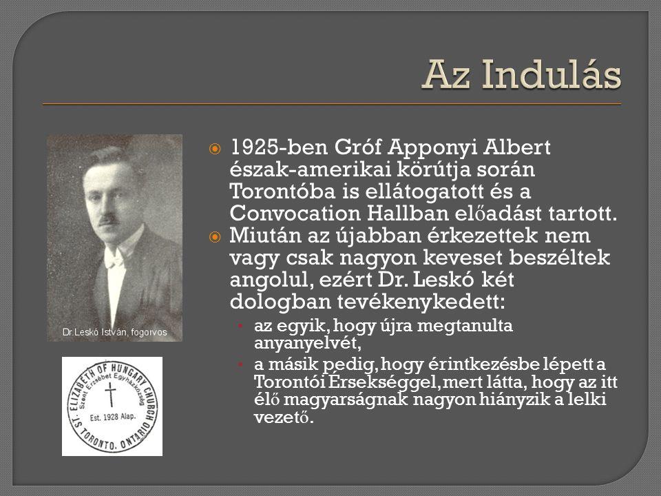 Az Indulás 1925-ben Gróf Apponyi Albert észak-amerikai körútja során Torontóba is ellátogatott és a Convocation Hallban előadást tartott.
