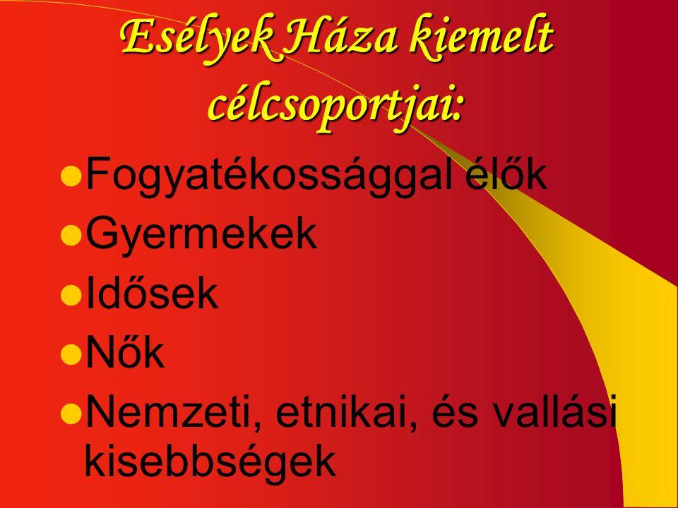 Esélyek Háza kiemelt célcsoportjai: