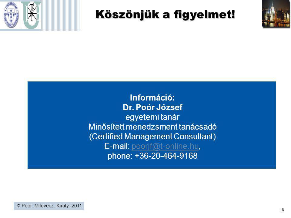 Köszönjük a figyelmet! Információ: Dr. Poór József egyetemi tanár