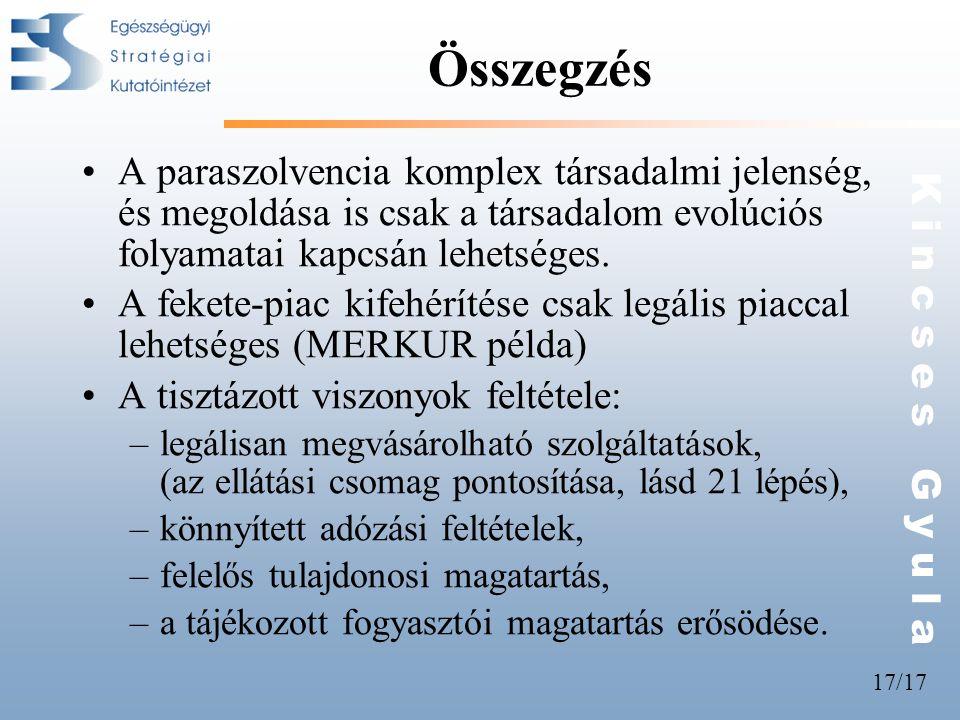 Összegzés A paraszolvencia komplex társadalmi jelenség, és megoldása is csak a társadalom evolúciós folyamatai kapcsán lehetséges.