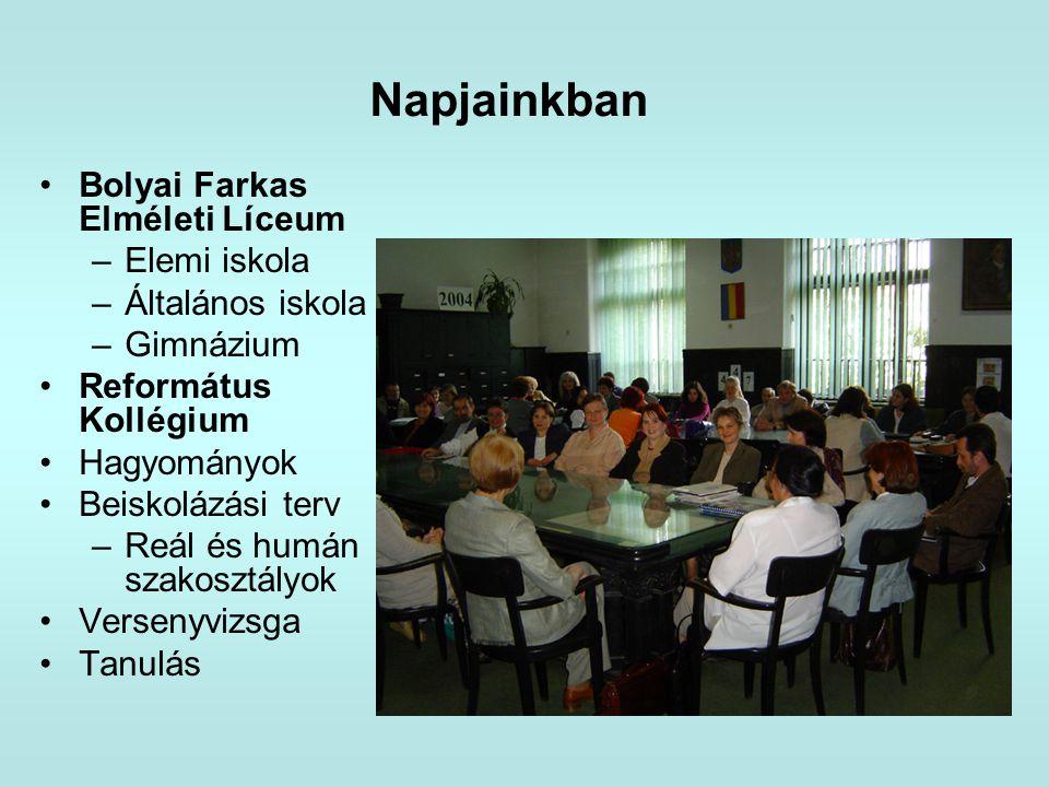 Napjainkban Bolyai Farkas Elméleti Líceum Elemi iskola