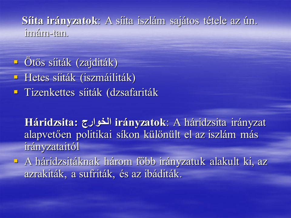 Síita irányzatok: A síita iszlám sajátos tétele az ún. imám-tan.