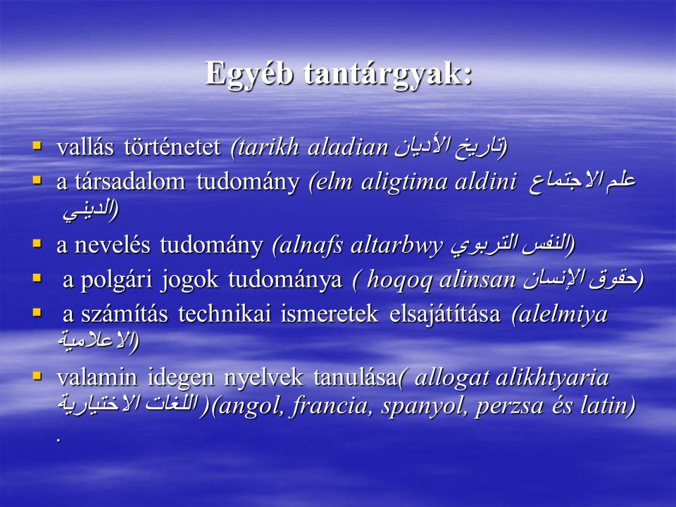 Egyéb tantárgyak: vallás történetet (tarikh aladian تاريخ الأديان)