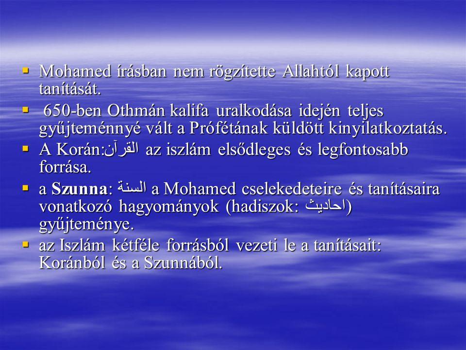 Mohamed írásban nem rögzítette Allahtól kapott tanítását.