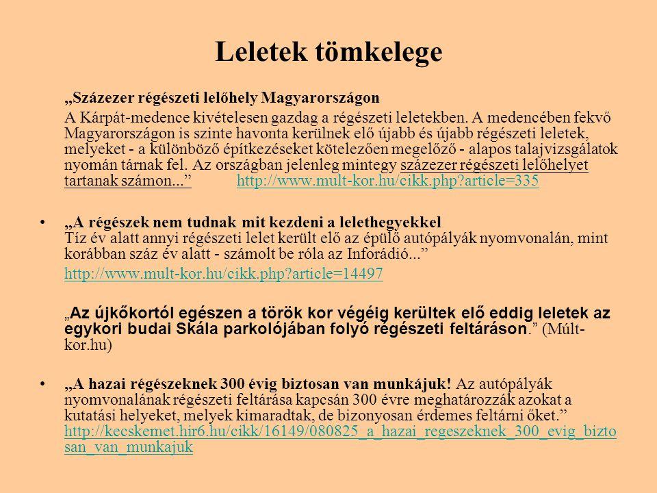 """Leletek tömkelege """"Százezer régészeti lelőhely Magyarországon"""