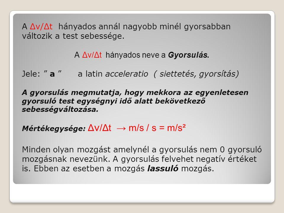A Δv/Δt hányados neve a Gyorsulás.