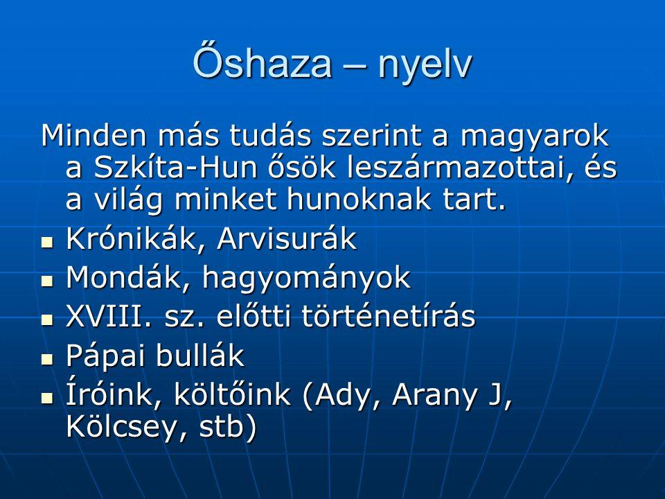 Őshaza – nyelv Minden más tudás szerint a magyarok a Szkíta-Hun ősök leszármazottai, és a világ minket hunoknak tart.
