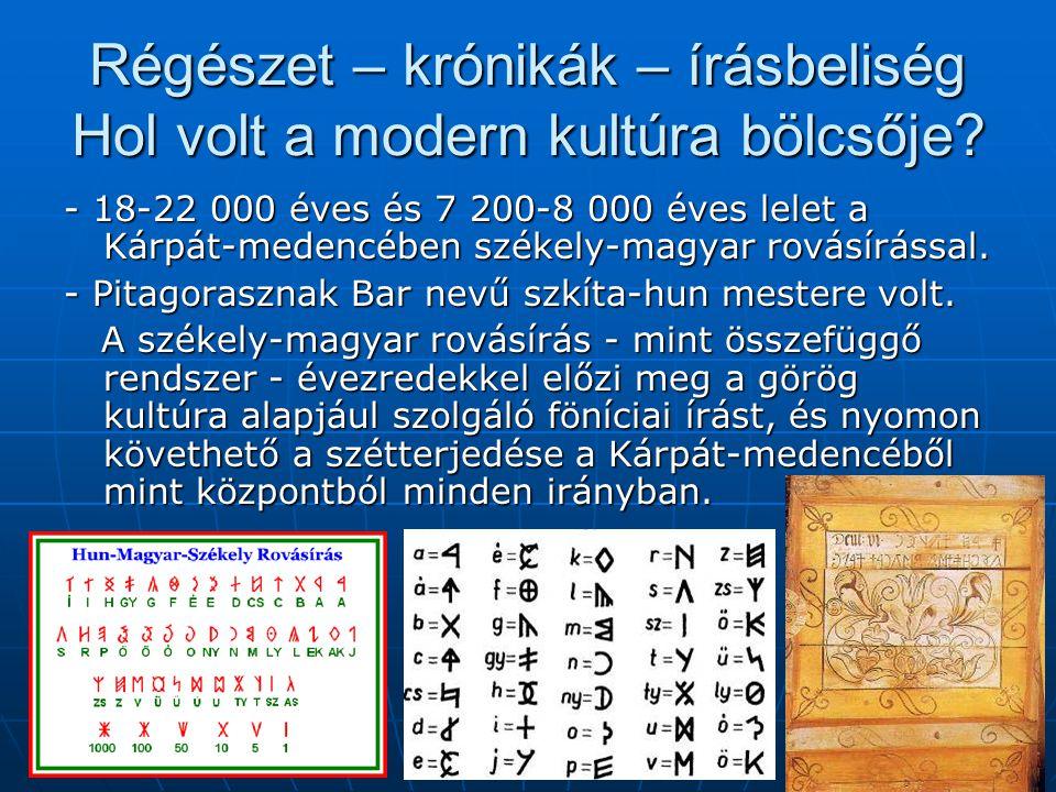 Régészet – krónikák – írásbeliség Hol volt a modern kultúra bölcsője