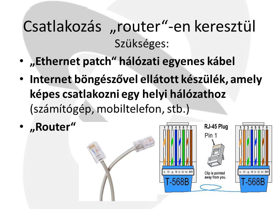 """Csatlakozás """"router -en keresztül"""