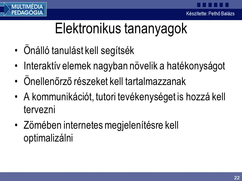 Elektronikus tananyagok