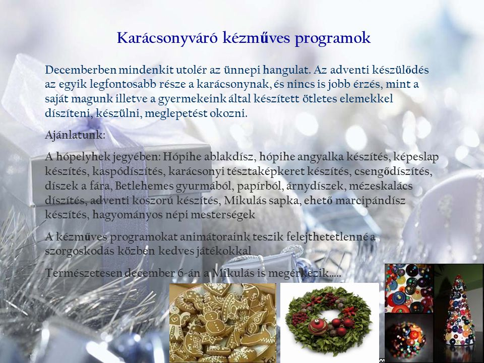 Karácsonyváró kézműves programok