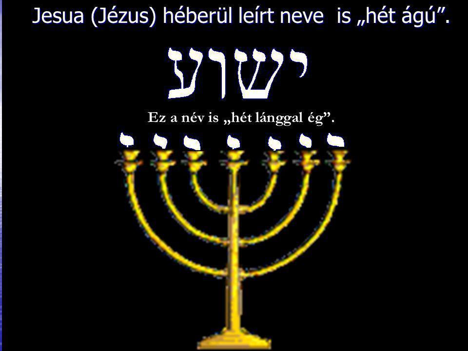 """Jesua (Jézus) héberül leírt neve is """"hét ágú ."""