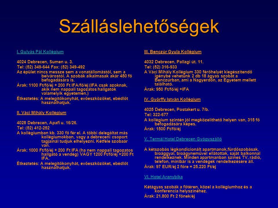 Szálláslehetőségek I. Gulyás Pál Kollégium 4024 Debrecen, Sumen u. 3.