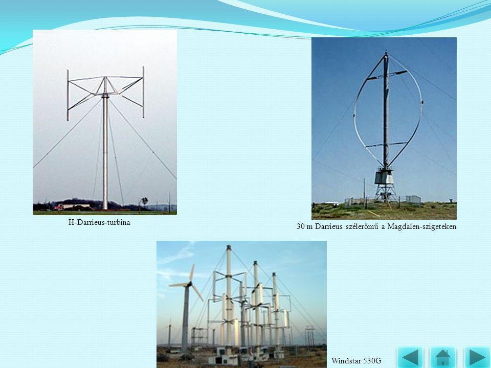 H-Darrieus-turbina 30 m Darrieus szélerőmű a Magdalen-szigeteken Windstar 530G