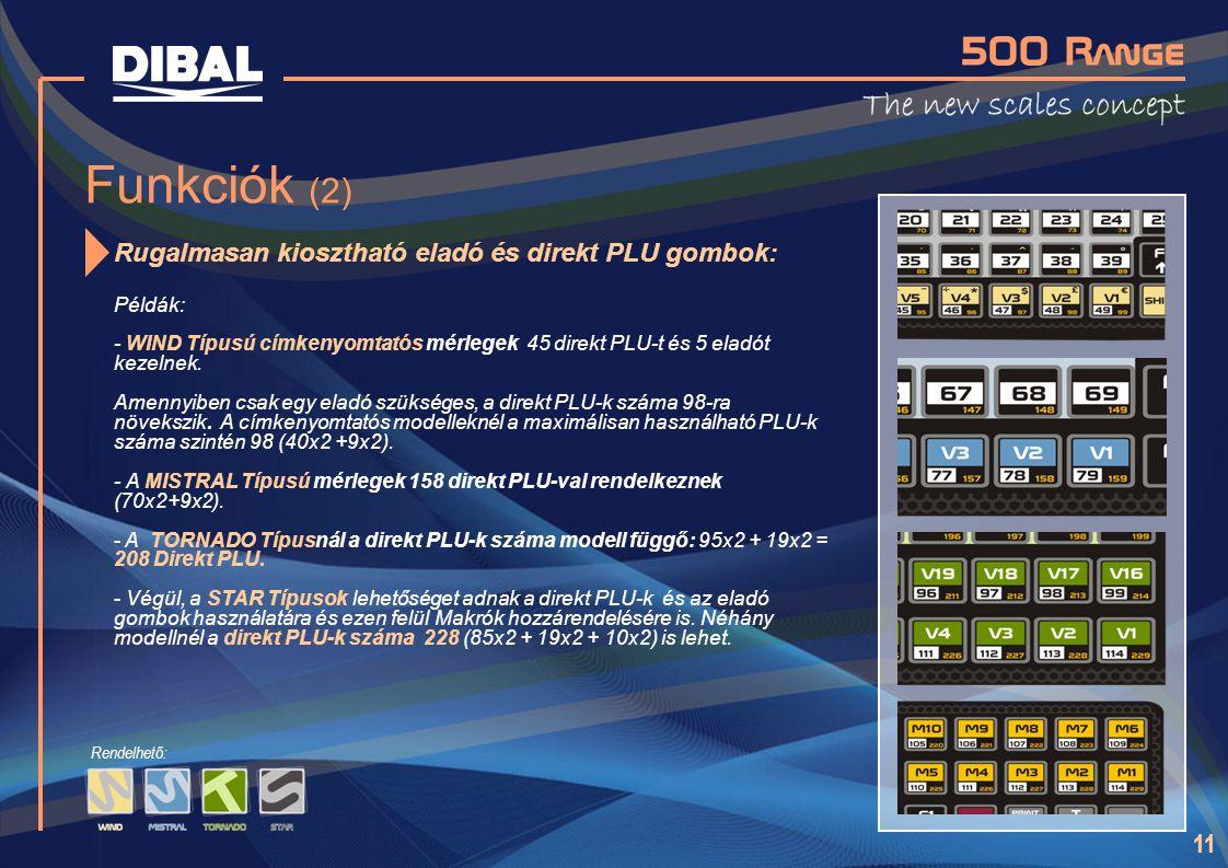 Funkciók (2) Rugalmasan kiosztható eladó és direkt PLU gombok: Példák: