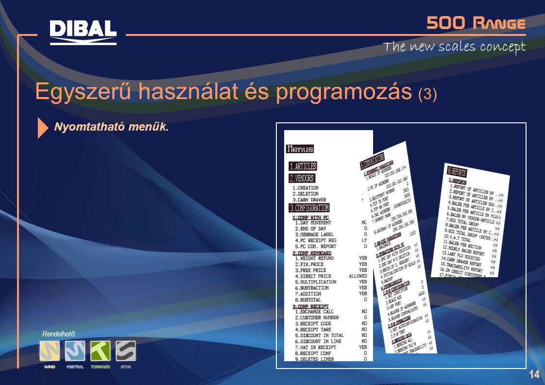 Egyszerű használat és programozás (3)
