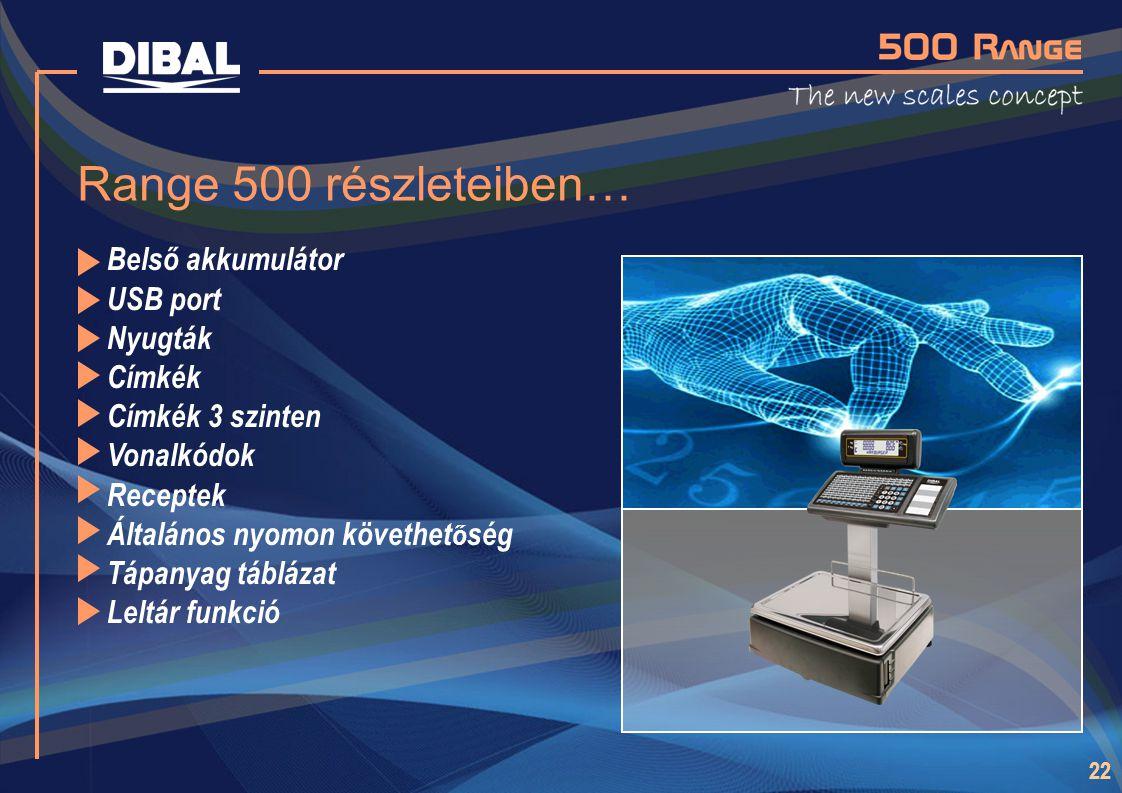 Range 500 részleteiben… Belső akkumulátor USB port Nyugták Címkék