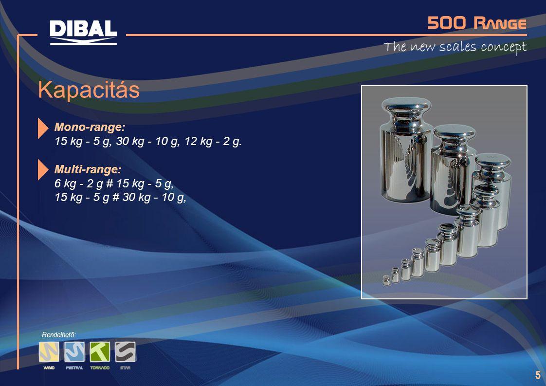 Kapacitás Mono-range: 15 kg - 5 g, 30 kg - 10 g, 12 kg - 2 g.