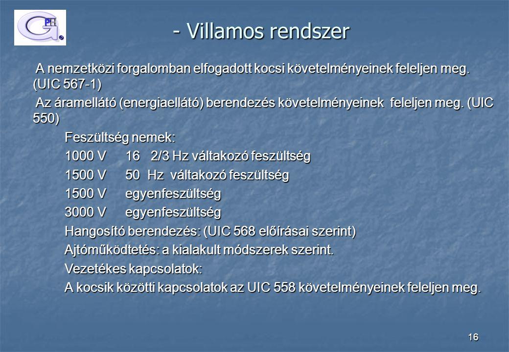 - Villamos rendszer A nemzetközi forgalomban elfogadott kocsi követelményeinek feleljen meg. (UIC 567-1)