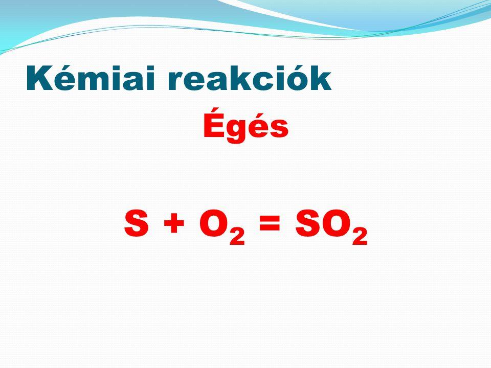 Kémiai reakciók Égés S + O2 = SO2