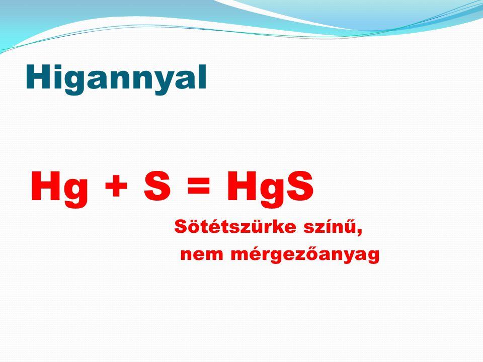 Higannyal Hg + S = HgS Sötétszürke színű, nem mérgezőanyag
