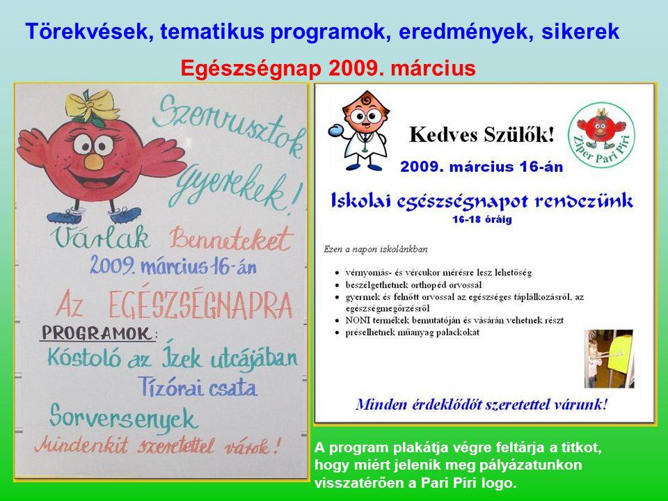 Törekvések, tematikus programok, eredmények, sikerek