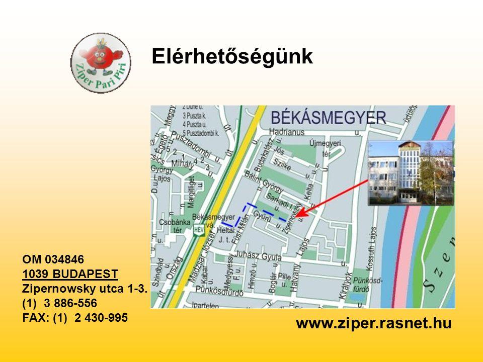 Elérhetőségünk www.ziper.rasnet.hu OM 034846 1039 BUDAPEST